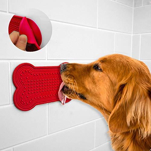 ür Einfache und Funny Bad-Dog Peanut Butter Pad für Dusche-Bad Pflege Zubehör-Prime Qualität-mit Gratis E-Book, X-Large, Rot ()