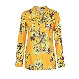 Manadlian Damen T-Shirt Frauen Frau Mode V-Ausschnitt Hemd Blumen Lange Ärmel Beiläufig Locker Übergröße Knopf Oberteile
