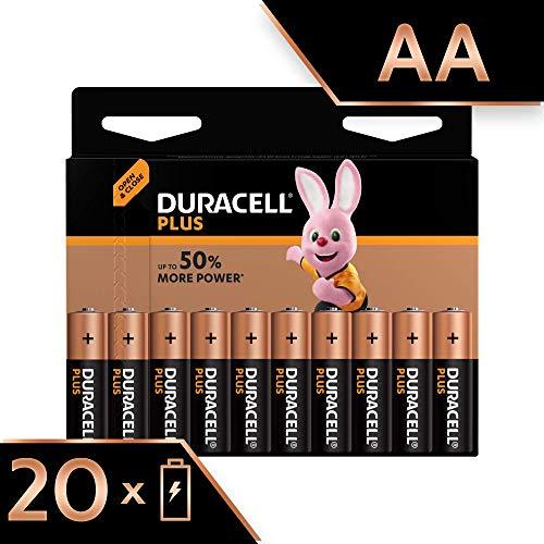 Duracell Plus, lot de 20 piles alcalines Type AA 1,5 Volts LR6 MX1500 (visuel non contractuel)