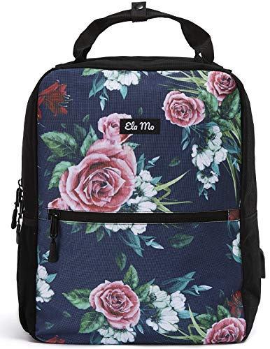 Ela Mo\'s Kleiner Rucksack Damen | Schön, Komfortabel und Durchdacht | für Arbeit Reisen Uni Schule | mit Laptopfach & Anti Diebstahl Tasche | Blumen