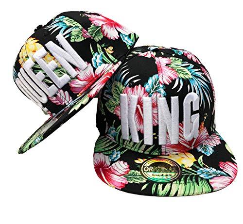 JameStyle26 King & Queen Snapback Set USA Cap Kappe Basecap Mütze Trucker Cappy Kult Partner Look (King & Queen Bunt Set)
