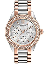 Bulova Womens Analogue Classic Quartz Watch with Stainless Steel Strap 98N100
