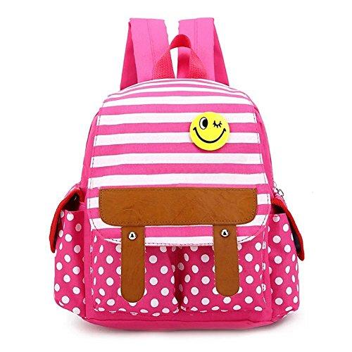 Flyingsky Dot nette Kind Rucksack Streifen Jungen Mädchen Schule Beutel Baby Buch Tasche (Pink)