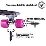 City Rider™ Skateboard Schwarz-Original Mini Cruiser Skateboard 22 Zoll / 57 cm - Retro Skateboards für Mädchen und Jungs -