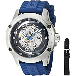 Stuhrling Original 360 Sport Men's Automatic Watch with Black Dial Analogue Display and Blue Rubber Strap 314R.3316C51SET