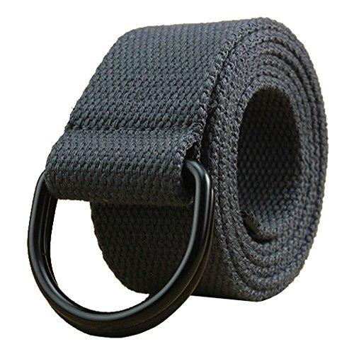 Maikun Herren & Damen Gürtel aus Segeltuch mit D-Ring Gr. Taillenumfang 101,60 cm-109,22 cm, Dark Grey+black Ring (Herren Western Ringe)