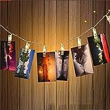Zuoao LED Foto Clip Lichterkette Batteriebetriebene, 20 Foto-Clips, 2 M Warmweiß Partybeleuchtung Kreative Lampe Clip Foto-Wanddekoration für Festival, Weihnachten, Hochzeit Dekoration