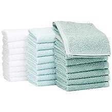 AmazonBasics katoenen washandjes - 24 stuks; zeeschuim groen, ijsblauw, wit