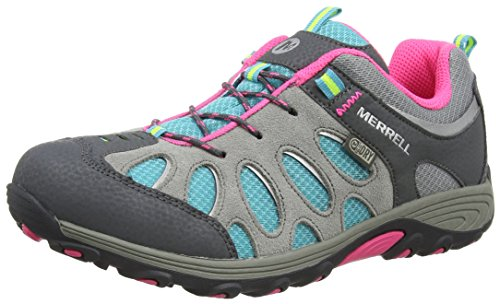 Merrell Chameleon Low Lace Waterproof, Chaussures de Randonnée Basses Fille, Multicolore (Grey/Multi), 35 EU