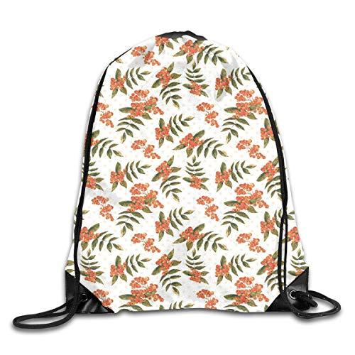 Berry Fun Dots (Ejjheadband Rowan Duvet Cover Set Twin Size, Botanical Foliage Nature Pattern With Berries On Soft Pink Dots,Dark Green Orange Light Pink_2Gym Bag)