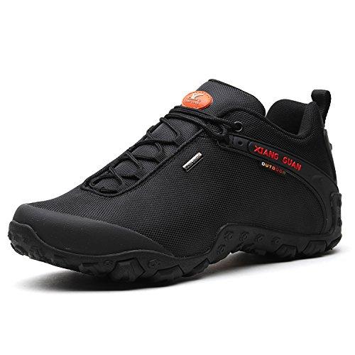 XIANG GUAN Herren Outdoor Wasserabweisende Trekking Schuhe Wanderschuhe atmungsaktiv bequem 81283 Schwarz 45