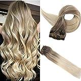 Easyouth Clip in Menschliches Haar 18 Zoll 100g 10 Stück Pro Paket Farbe 8 Ash Brown Fading Zu 60 Blonde 100% Remy Echthaar Für Komplette Haarverlängerung Glatt Haarteile