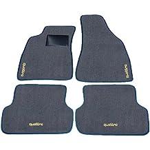 AUDI A4 QUATTRO a partir de 2004 hasta 2007 y alfombras para coche azul oscuro y gris, negro Battitacco Juego completo de alfombras Alfombrillas a medida de hilo para bordar beige