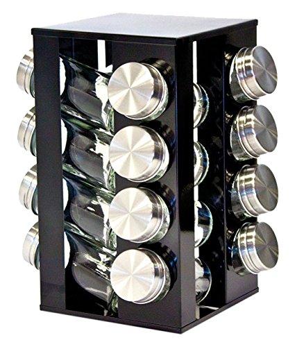 Sq Professional Gewürzregal mit 16 Gewürzgläsern, drehbar, Metallic-Design, erhältlich in Rubinrot, Onyxschwarz und Quartssilber onyx