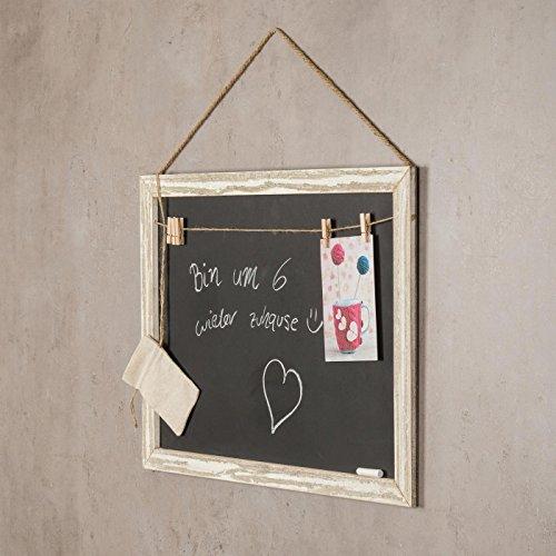 Memotafel Memoboard 55x40cm Tafel Wandtafel aus Holz in weiß gewischt mit Klammern & Kordeln zum Hängen - Landhaus Vintage Shabby Kreide Kreidetafel Küchentafel Wäscheklammer - 4