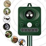 YIPIN Repellente per Gatti Repellente Ultrasuoni Animale Repeller Solare per Allontanare Gatti, Ratti, Cani, Uccelli, Parassiti, Volpi e altri, Repeller esterno per animali con LED lampeggiante