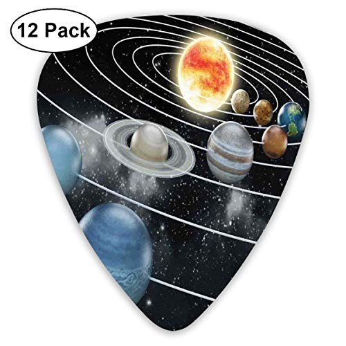 Celluloid Guitar Picks - 12 Pack,Abstract Art Colorful Designs,Solar System All Eight Planets And The Sun Pluto Jupiter Mars Venus Science Fiction,For Bass Electric & Acoustic Guitars.