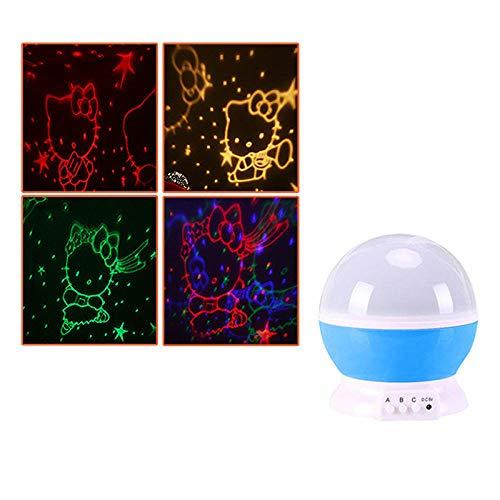 LED Nachtlicht Geschenk Schlafzimmer Kinderzimmer Projektionslampe blau - hello_kitty