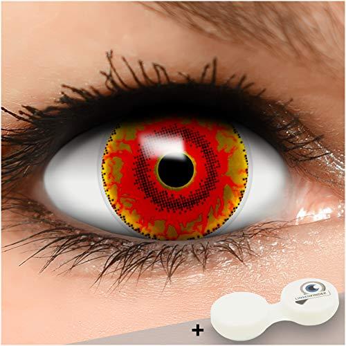 Farbige braun rote Kontaktlinsen Red Monster MIT STÄRKE + Behälter von Linsenfinder, weich, als 2er Pack - angenehm zu tragen und perfekt zu Halloween, Karneval, Fasching oder Fasnacht