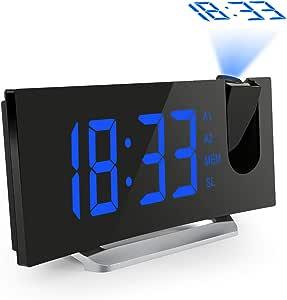 Mpow Projektionswecker, FM Radiowecker mit Projektion 5'' LED-Anzeige Projektionuhr digitaler Wecker Uhrenradio, Dual-Alarm, 3 Helligkeit 120° Dreh-Projektor &180° Flip-Projektionsanzeige, Blau