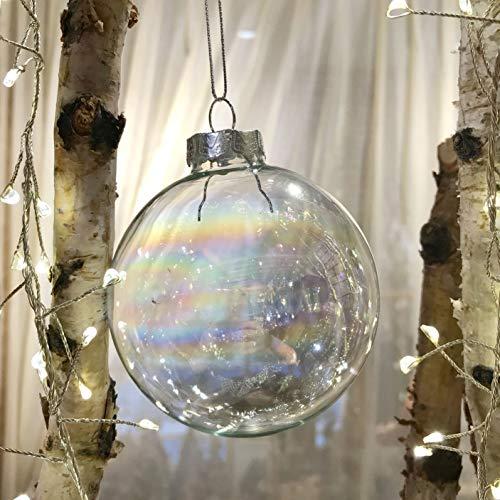 Valery madelyn 6 pezzi di natale baubles set 8cm traslucido di vetro iridescente grande rotondo albero di natale baubles decorazioni albero di natale ornamenti per natale decorare