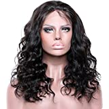 16\ 130% density lace front wig , 1# Jet Black : Premier Body Wave Curly Glueless Lace Front Wigs- Loose curly Remy Brazilian Human Hair Wigs, Wet any Wavy Front Lace Wig Free Part for Black Women with Baby Hair (16inch #1Jet Black wig )