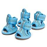 Hundeschuhe AtmungsaktivHaustier Schuhe GummiStiefel Anti-Rutsch Pfotenschutz Sandalen Frühling und Sommer 4-er für Kleine Hunde Poodle BichonFrise (1#, blau)