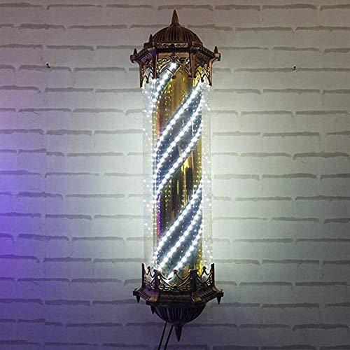 Led Barber Pole Light, Tiras Blancas giratorias iluminadoras Peluquería Letrero de peluquería Letrero Impermeable Ahorre energía Lámpara de Pared, 90 cm
