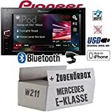 Mercedes E-Klasse W211 - Pioneer MVH-AV290BT - 2DIN USB Bluetooth Touch iPhone Android Autoradio - Einbauset