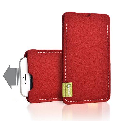 """Almwild® Hülle Tasche für Apple iPhone Xr / 10r. Modell """"Dezenzi"""" in Rot aus Natur- Filz. Handyhülle Handytasche in Bayern handgefertigt"""