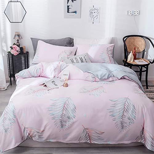 UOUL Bettwäsche Set Seide Tencel Bettwäsche 4 Stück Weich Verblasst Nicht Komfort Männer Und Frauen Schlafzimmer Grau Full \ Königin,Pink,King -