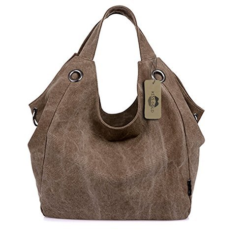 KISS GOLD Damen Schultertasche Canvas Totes Hobo Bag mit einfachem Stil, Kaffee -