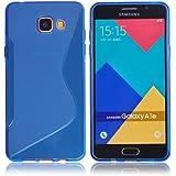 Voguecase® Pour Samsung Galaxy A3 (2016) SM-A310F, TPU Silicone Shell Housse Coque Étui Case Cover (S Line Bleu)+ Gratuit stylet l'écran aléatoire universelle