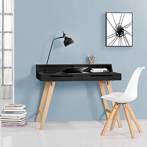[en.casa] Scivania retro (85x110x60cm) laccato nero opaco