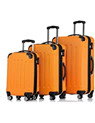 SHAIK ® 3-tlg. Hartschalen Kofferset, Trolley, Koffer, Reisekoffer, 45/78/124 Liter, 4 Doppelrollen, 25% mehr Volumen durch Dehnfalte