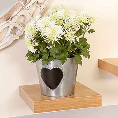 French Country Antique Style Zinc Heart Planter (B765) Perfect For Placing On the Windowsill or Mantelpiece, H 13.5 x W 15.8cm