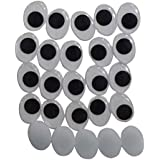 Asian Hobby Crafts Googly Moving Eyes - Design 7, Black/White (200 Pieces, 15mm)
