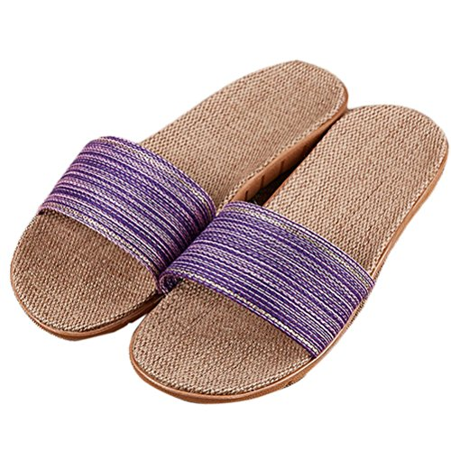 Nanxson(TM) Damen Herren Sommer Rutschfeste Leinen Hausschuhe Pantoffel TX0026 Violett