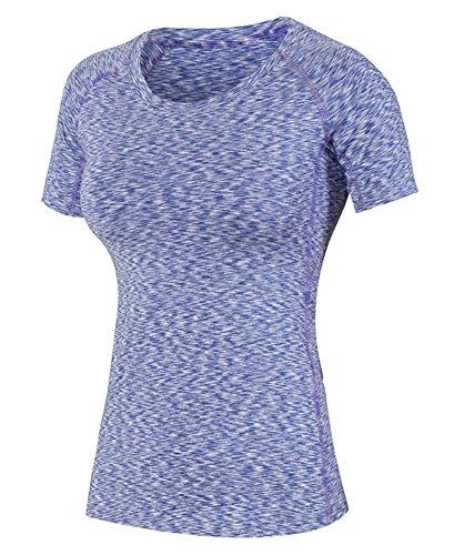 Icegrey donna Dry Compression Athletic camicie manica corta, donna, Purple, XXL