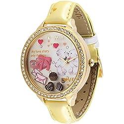 ufengke® watch gifts for ladies/women/girls-yellow strap rhinestone edge love story cake heart theme