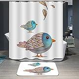 Ommda Duschvorhang Textil Wasserdicht Duschvorhang Anti-schimmel Tier Digitaldruck Waschbar mit 12 Duschvorhang Ring 120x180cm(Keine Matten) Vögel