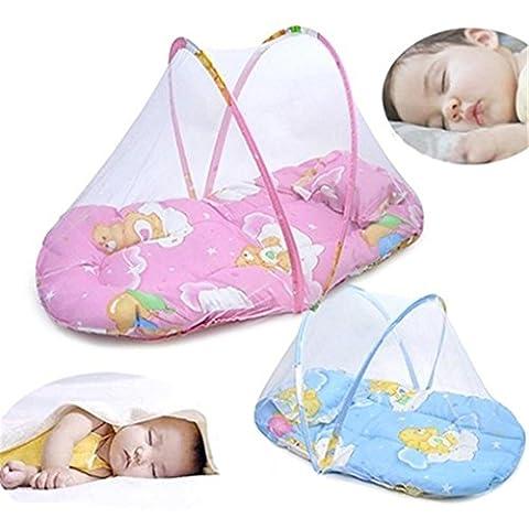 Faltbar Tragbar Infant Baby Travel Moskitonetz Kinderbett Bett Zelt mit Kissen rosa rose