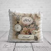 80th Birthday Cushion for her - 80th Birthday Gift for Women - Personalised 80 Birthday Throw Pillow 40 x 40cm / 16 x 16in Cushion Cover Pillowcase - Other Birthdays Available