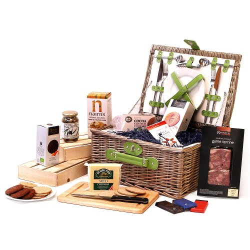 Retro Green Chiller 2 Person Wicker Picnic Hamper Basket with an Organic Fine Food Selection - Perfect gift idea for Christmas presents, Birthday, Wedding, Anniversary