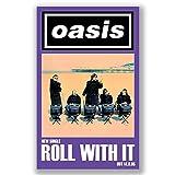 Box Prints Oasis Roll with it iconico retro vintage print leggenda della musica poster nero bianco foto d'arte con cornice di piccole dimensioni