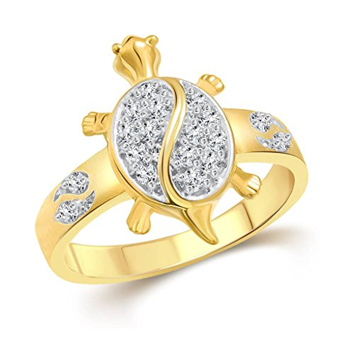 Vidhi Jewels Gold Plated Tortoise with Diamond Alloy & Brass Finger Ring for Men [VFR290G]