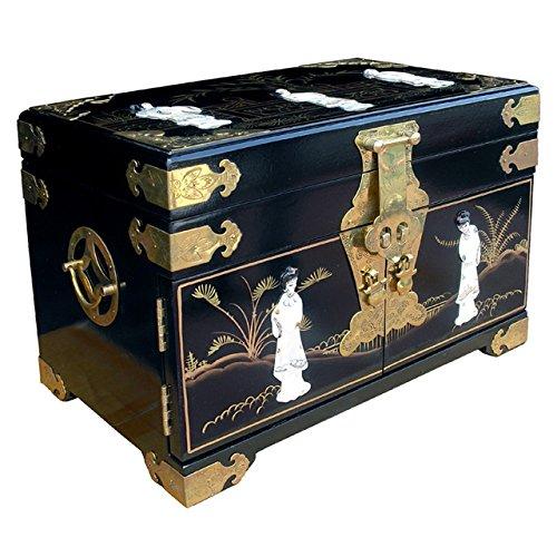 Asia Dragon Chinois boîte à Bijoux de Laque Noire - Meubles Chinois