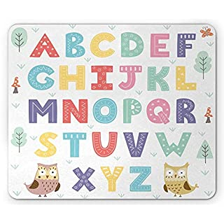 ABC Kids Mouse Pad, Alphabet Set of Letters in with Owl Trees Flower Forest Baby Fun Print Gaming Mousepad Office Mouse Mat Multicolor