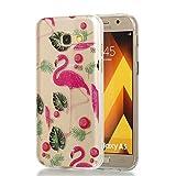 Hozor Samsung Galaxy A5 2017 Hülle, Glitzer Design Muster Crystal Glänzende Soft Flex Premium TPU Silikon Durchsichtig Bumper Case Cover Dünn Schlank Handyhülle Kratzfest Schutzhülle (Rote Flamingos)