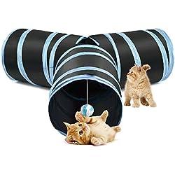 SlowTon Juguete del túnel del gato, Crackle Paper Tubo plegable Tres Connected Run Road Way Túnel Catnip House con diversión Ball Puzzle Ejercicio y juego para gatito, conejos y perros pequeños